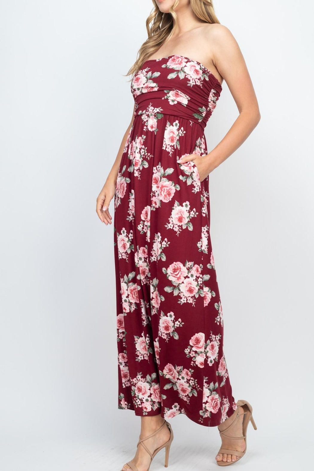 Riah Fashion Tube-Top-Floral-Pocket-Maxi-Dress-With-Inside-Lining - Side Cropped Image