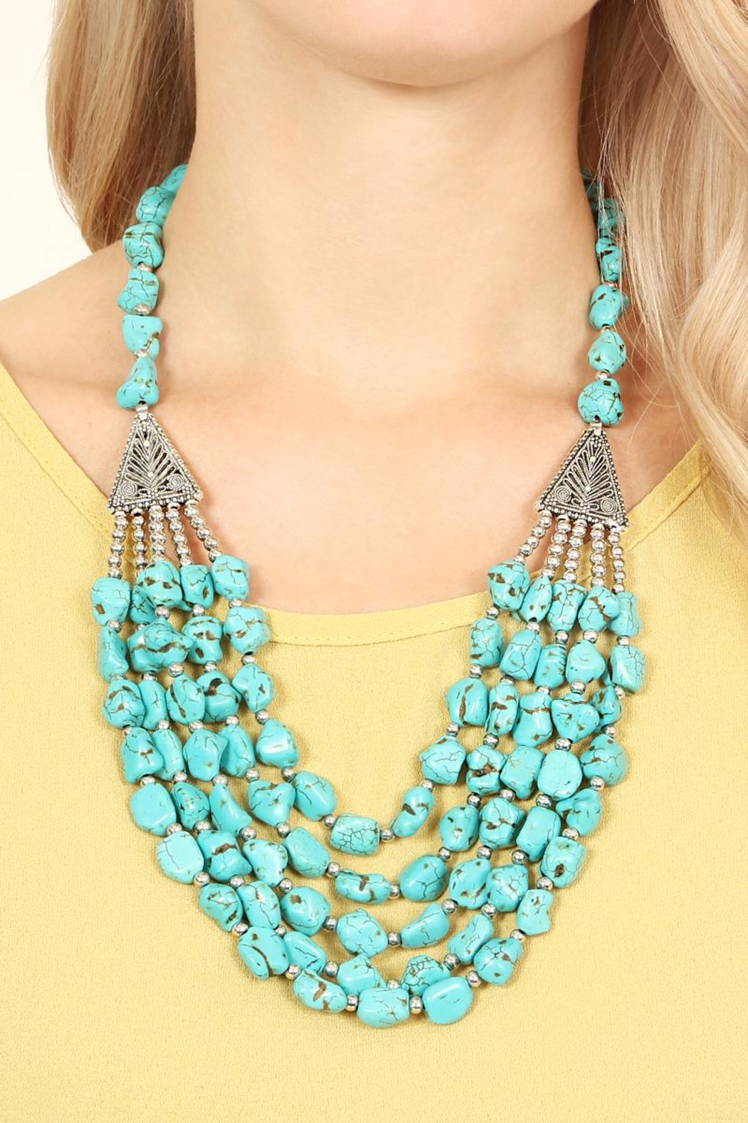 Riah Fashion Triangle Pebble Layer Necklace - Front Full Image