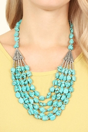 Riah Fashion Triangle Pebble Layer Necklace - Front full body
