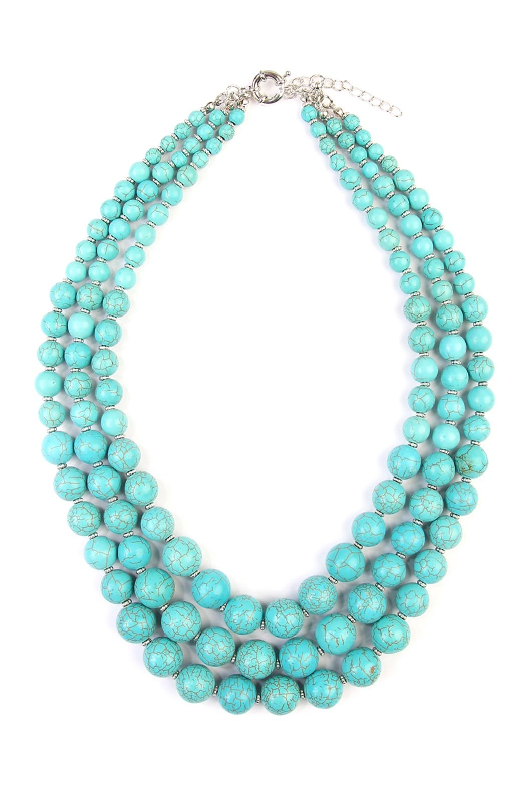 Riah Fashion Turquoise Bead Layer Necklace - Main Image