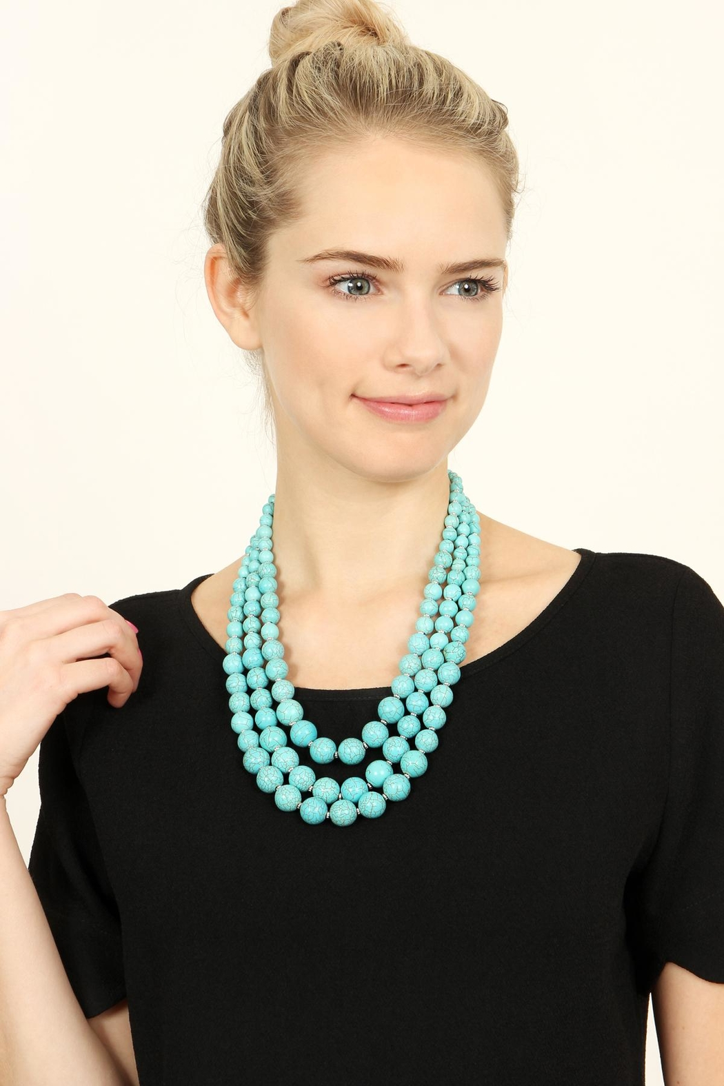 Riah Fashion Turquoise Bead Layer Necklace - Front Full Image