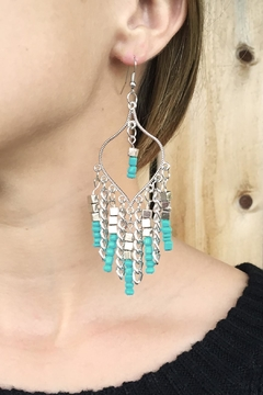 Riah Fashion Turquoise Chandelier Dangle Earrings - Alternate List Image