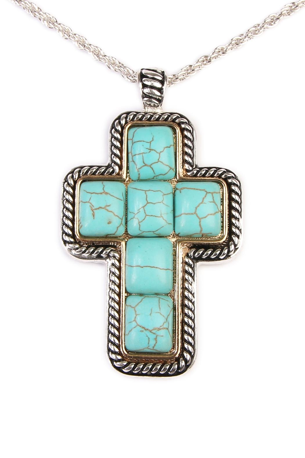 Riah Fashion Turquoise Cross Shape Necklace - Front Full Image