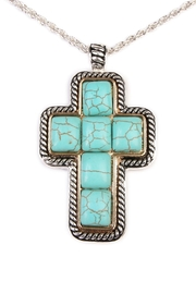 Riah Fashion Turquoise Cross Shape Necklace - Front full body