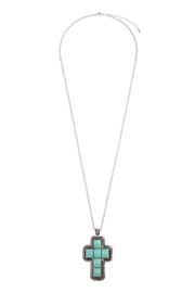Riah Fashion Turquoise Cross Shape Necklace - Product Mini Image