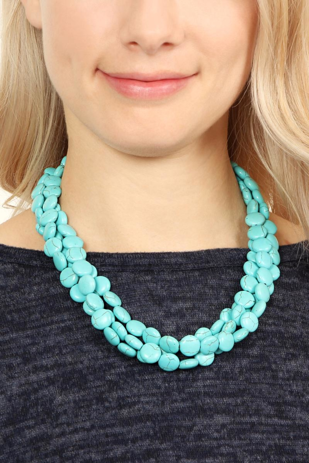 Riah Fashion Turquoise Rhodonite Necklace - Side Cropped Image