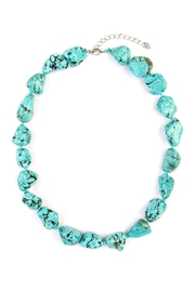 Riah Fashion Turquoise Marble Pebble Necklace - Product Mini Image