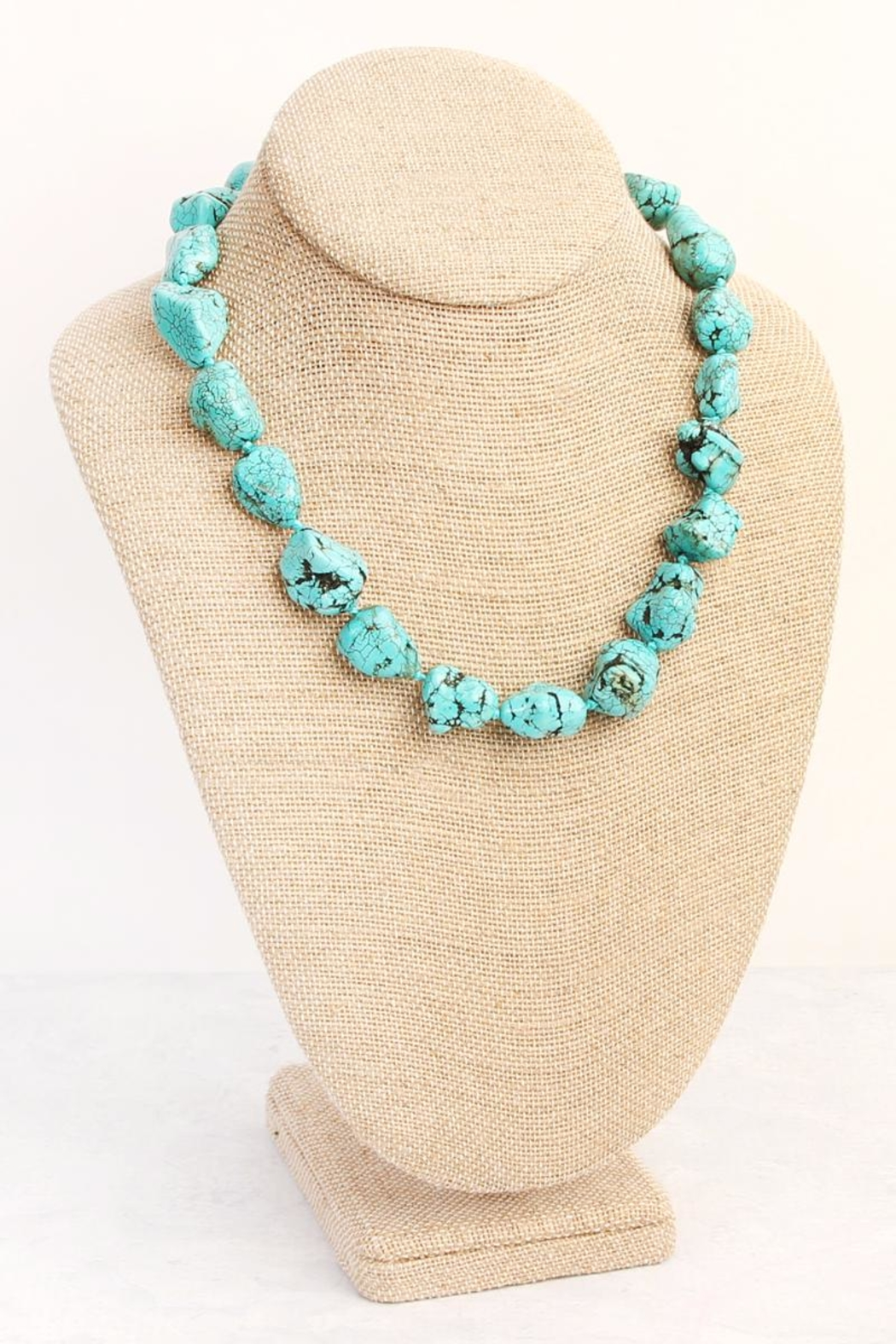Riah Fashion Turquoise Marble Pebble Necklace - Front Full Image