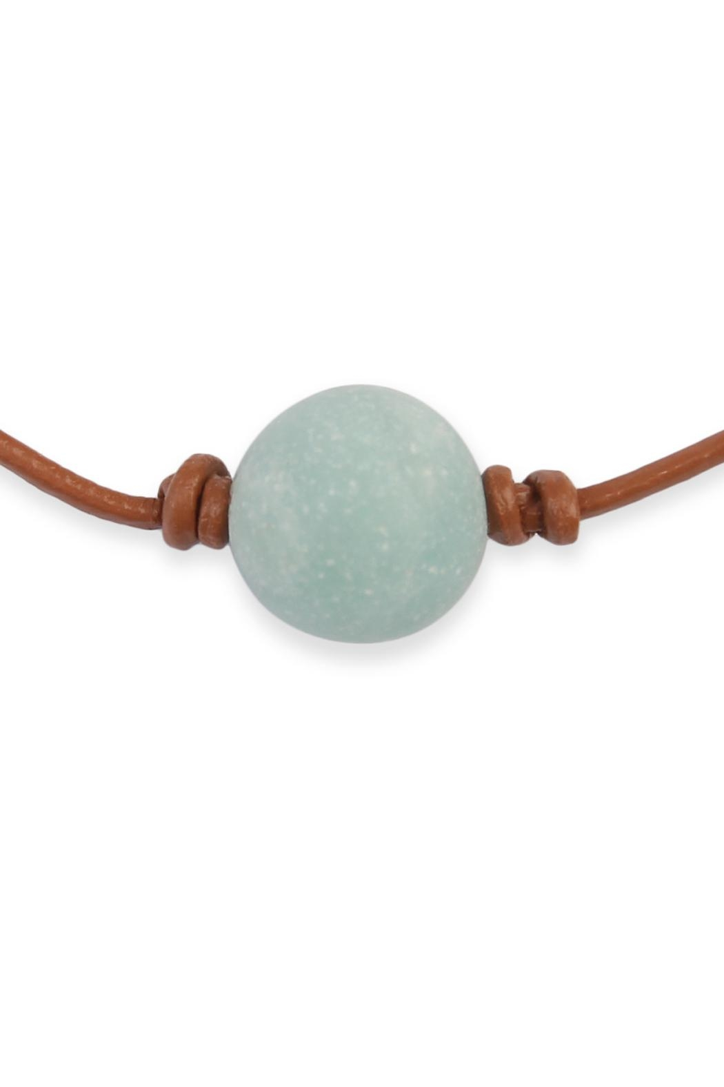 stone necklace pearl natural aobei ets handmade leather