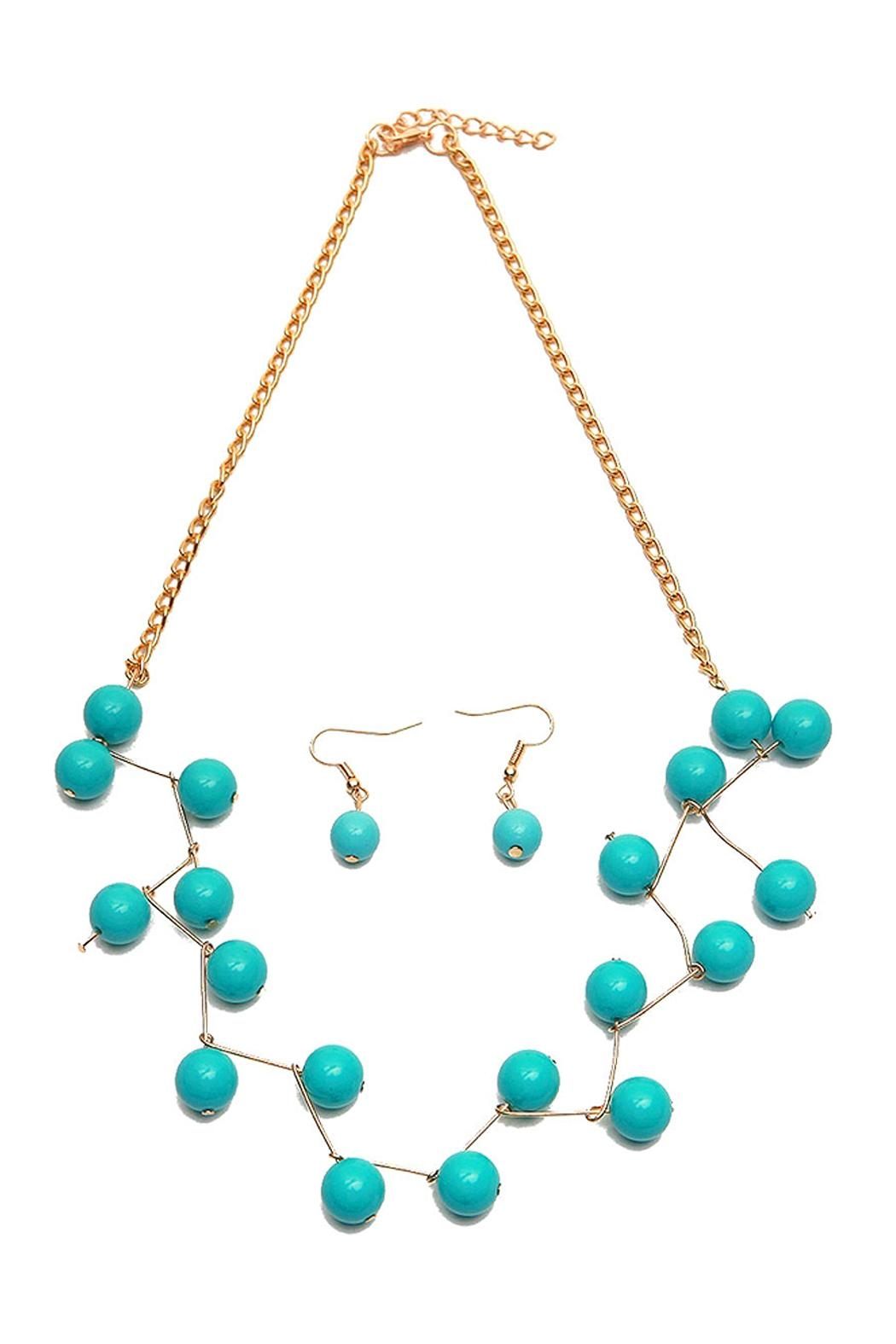 Riah Fashion Turquoise Necklace Set - Front Cropped Image