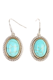 Riah Fashion Turquoise Oval Hook Earrings - Product Mini Image