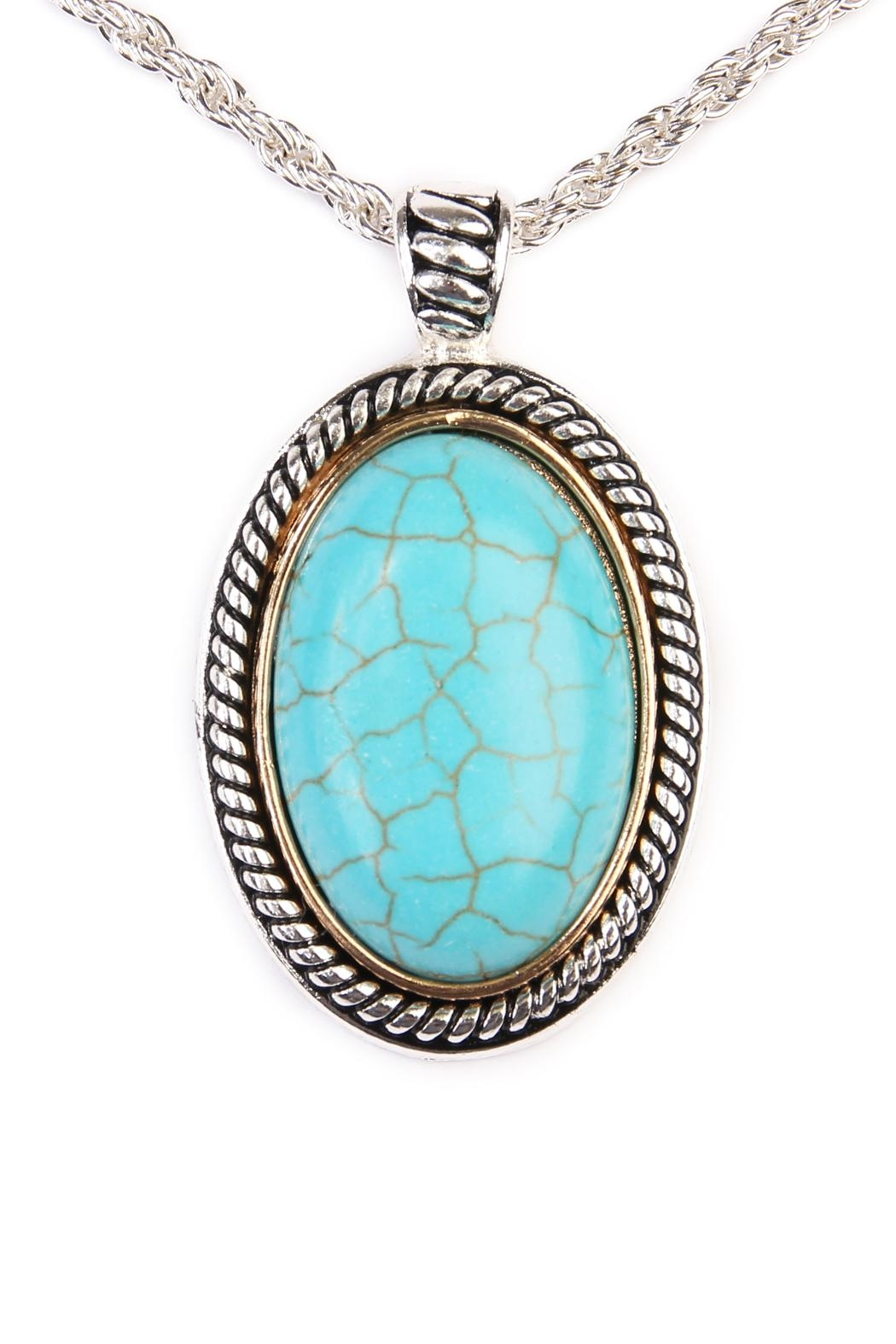 Riah Fashion Turquoise Oval Shape Necklace - Front Full Image