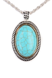Riah Fashion Turquoise Oval Shape Necklace - Front full body