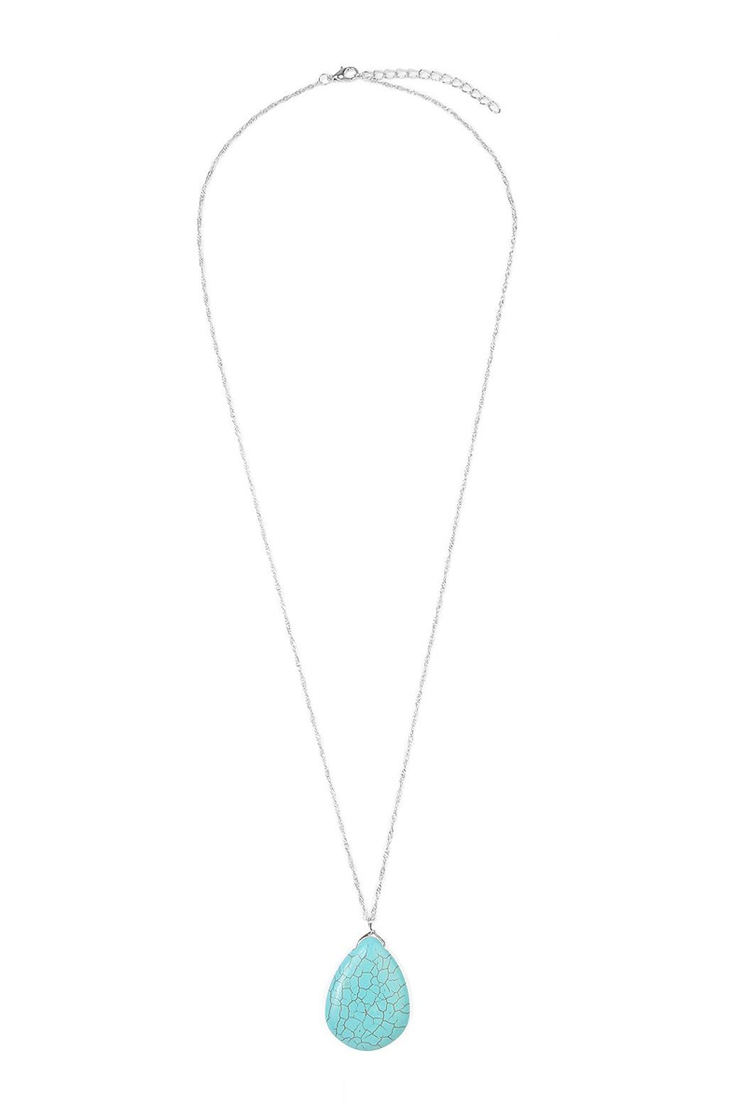 Riah Fashion Turquoise Pendant Necklace - Front Cropped Image