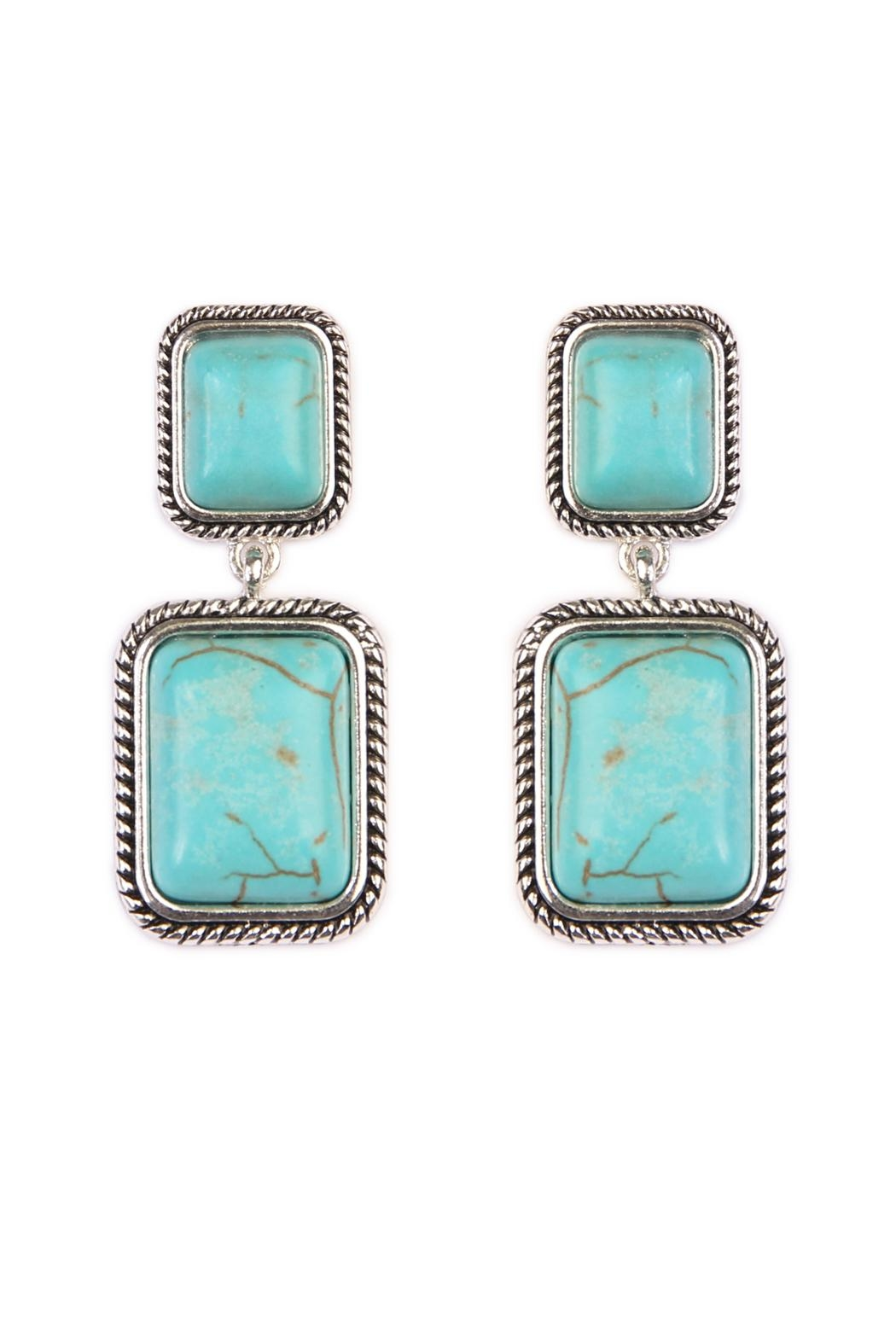 Riah Fashion Rectangular Dangle Earrings - Main Image
