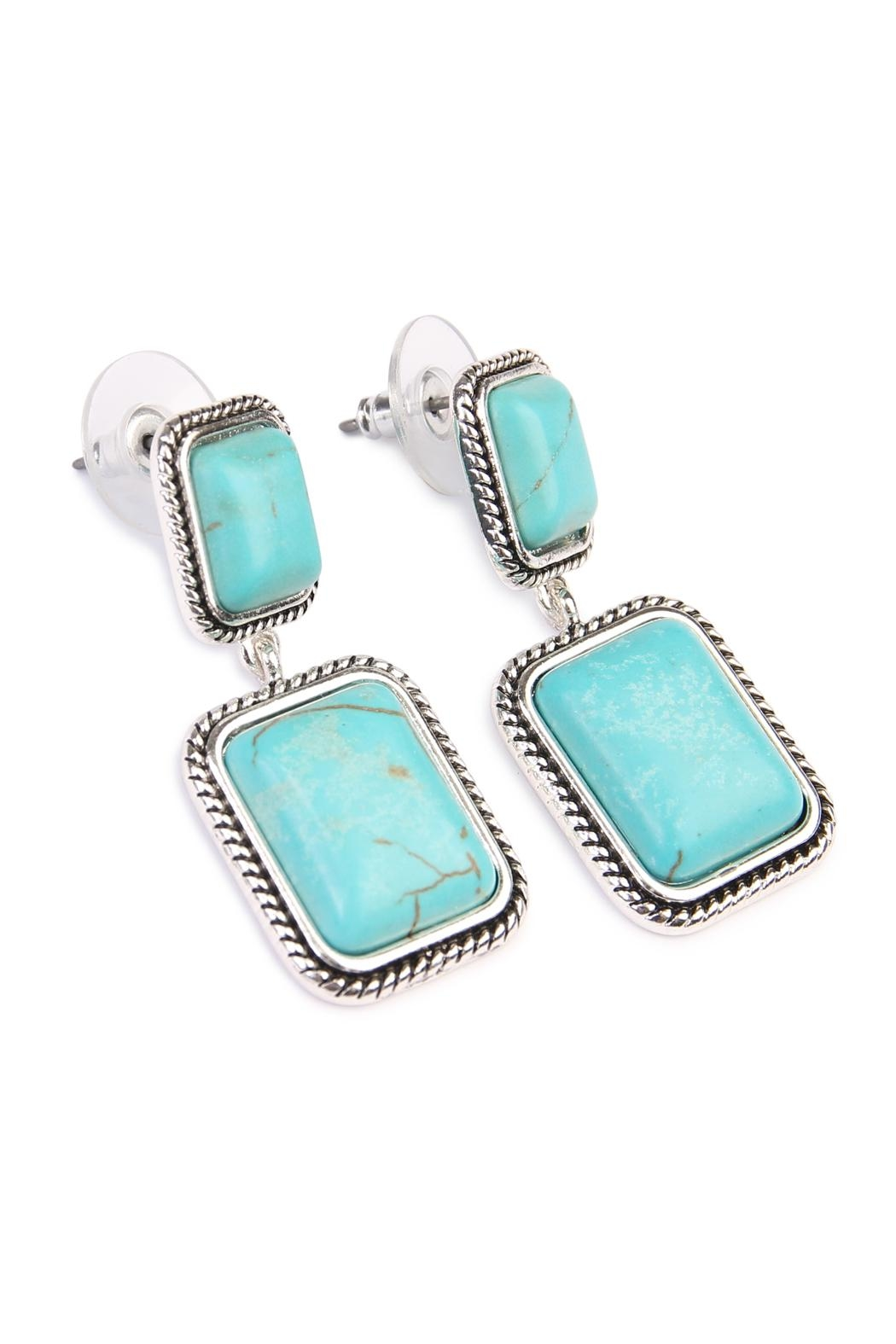 Riah Fashion Rectangular Dangle Earrings - Front Full Image