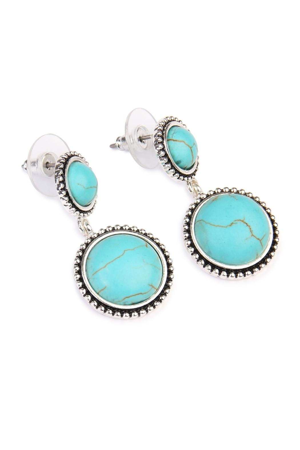 Riah Fashion Round Dangle Earrings - Front Full Image