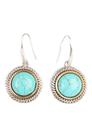 Riah Fashion Turquoise Round Hook Earrings - Product Mini Image