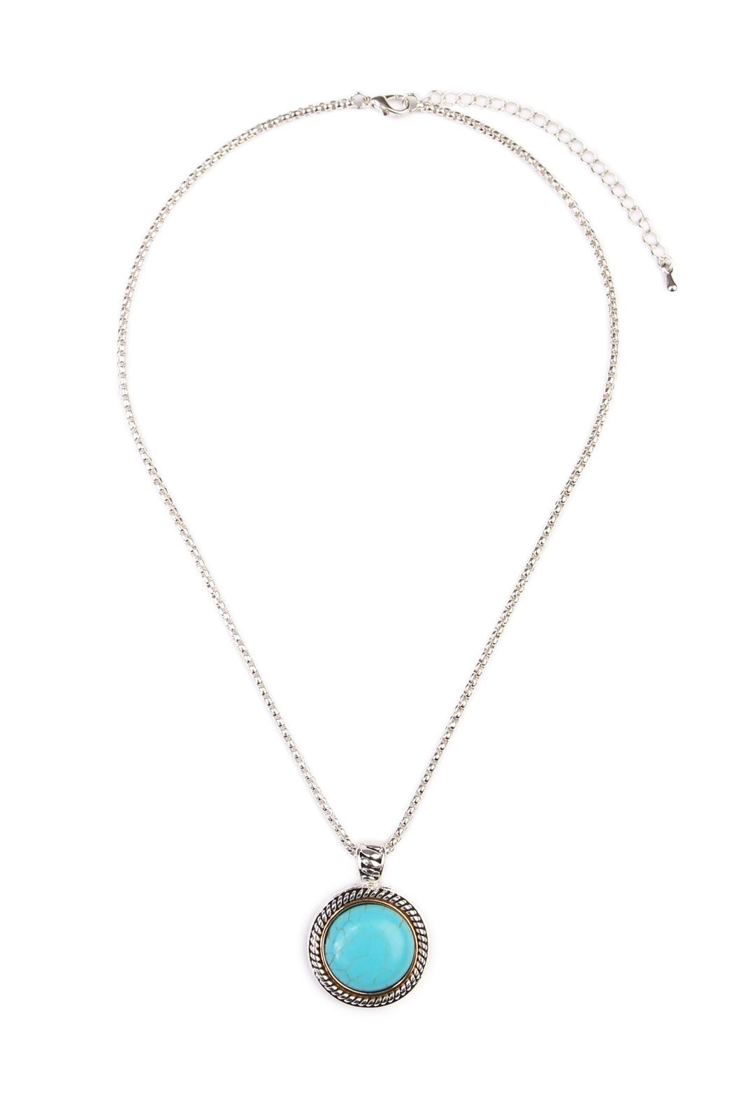 Riah Fashion Turquoise Round Shape Necklace - Main Image