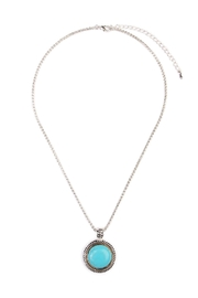 Riah Fashion Turquoise Round Shape Necklace - Front cropped