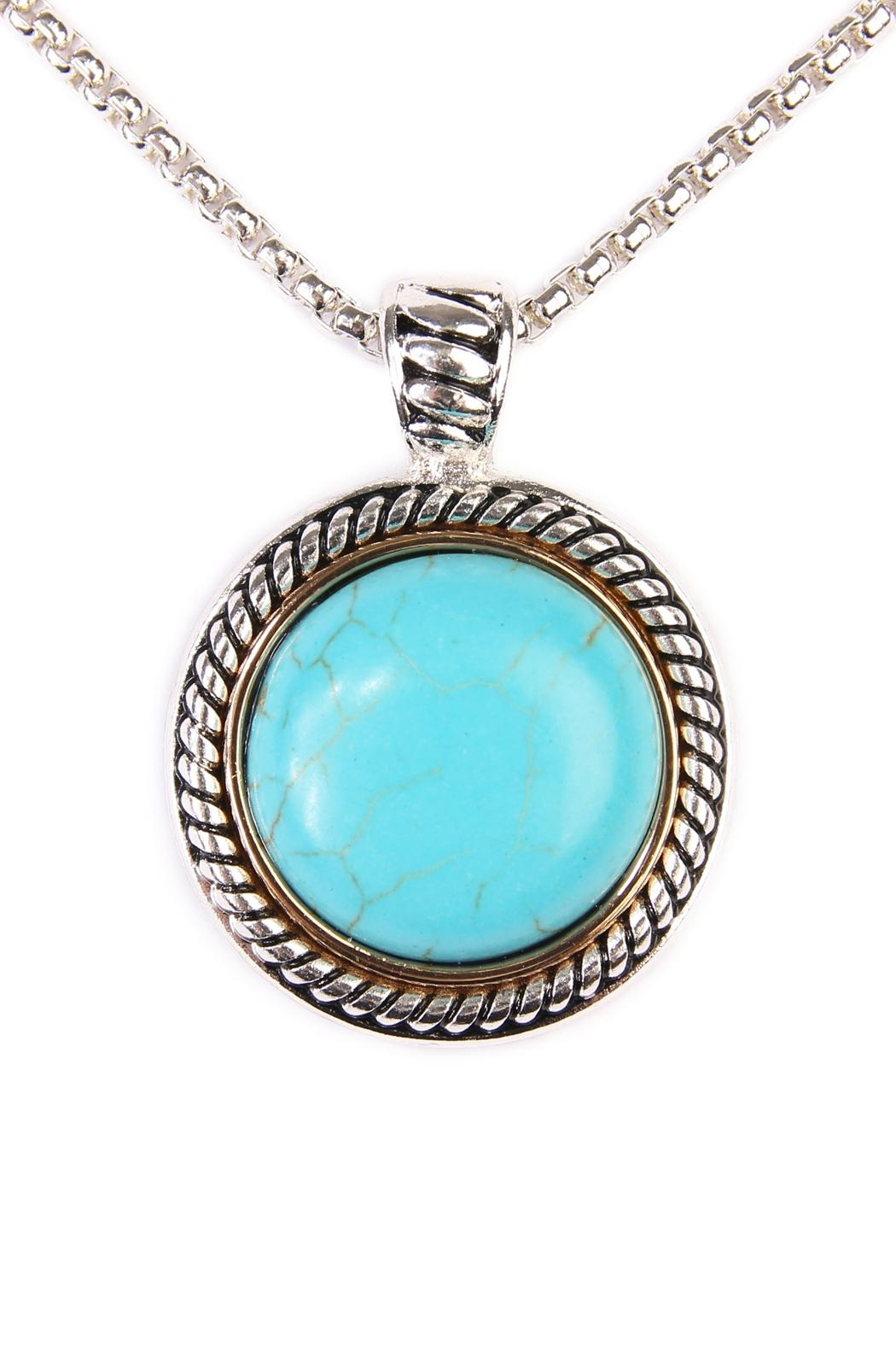 Riah Fashion Turquoise Round Shape Necklace - Front Full Image