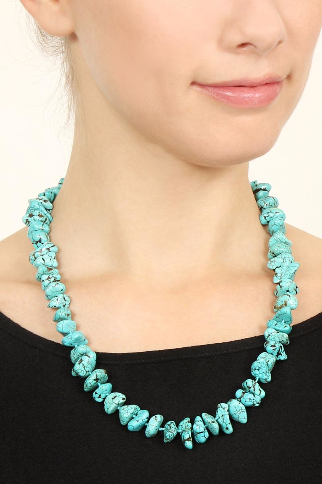 Riah Fashion Turquoise Small Pebble Necklace - Front Full Image
