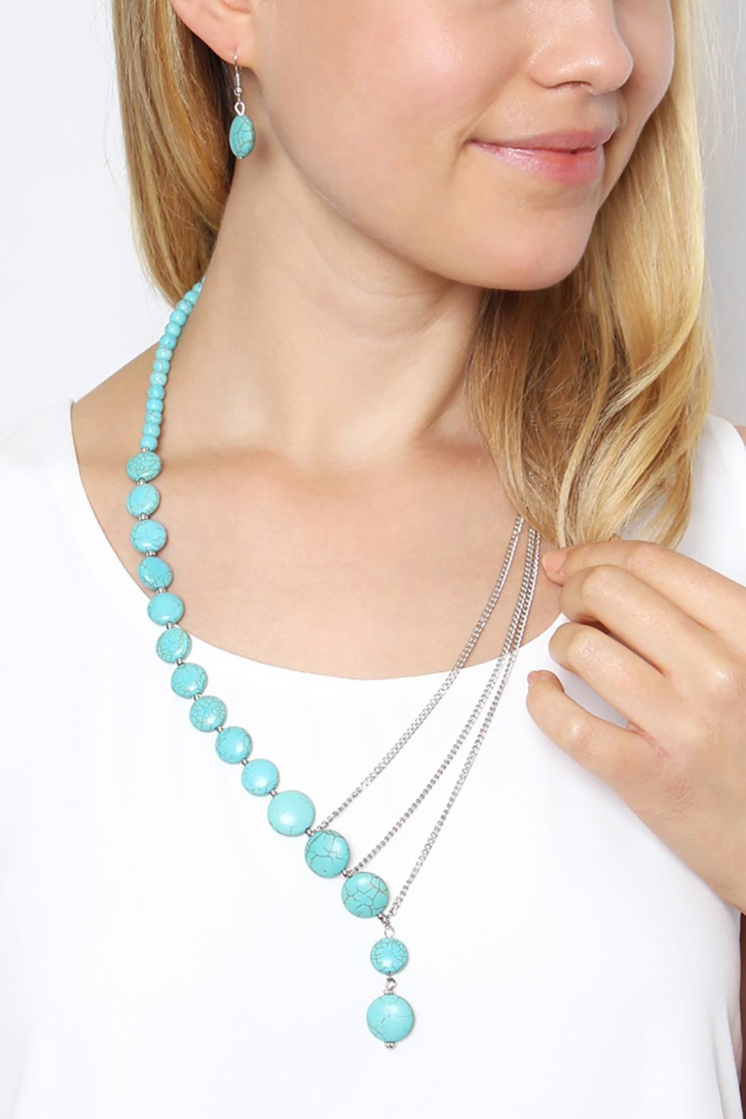 Riah Fashion Turquoise Split Necklace Set - Front Full Image