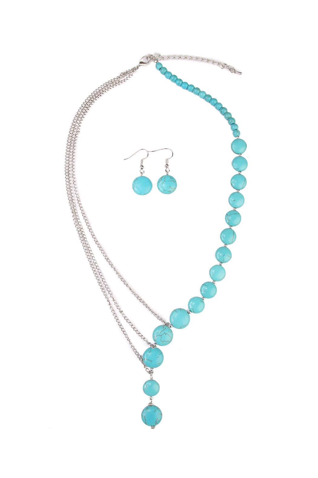 Riah Fashion Turquoise Split Necklace Set - Main Image