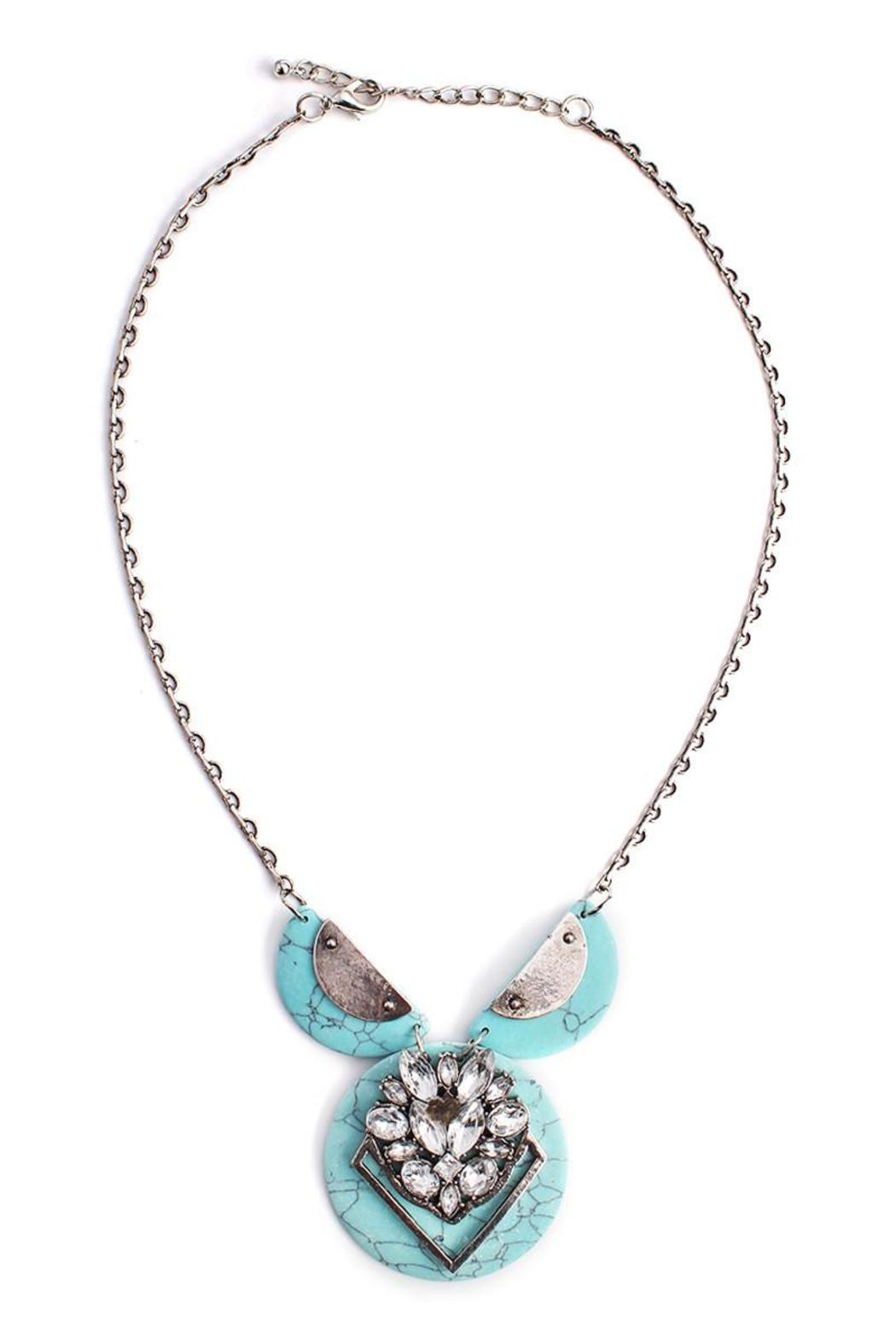 Riah Fashion Turquoise Stone Necklace - Front Cropped Image