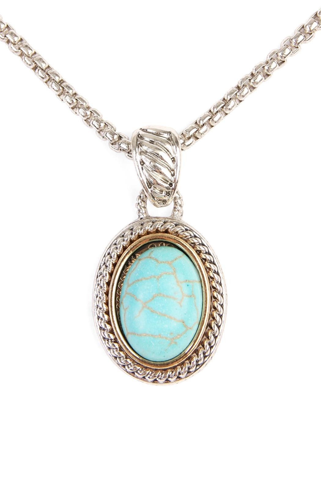 Riah Fashion Turquoise Stone Oval Necklace - Main Image