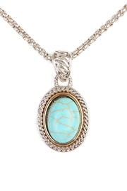 Riah Fashion Turquoise Stone Oval Necklace - Front full body