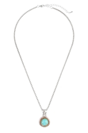 Riah Fashion Turquoise Stone Round Necklace - Front cropped