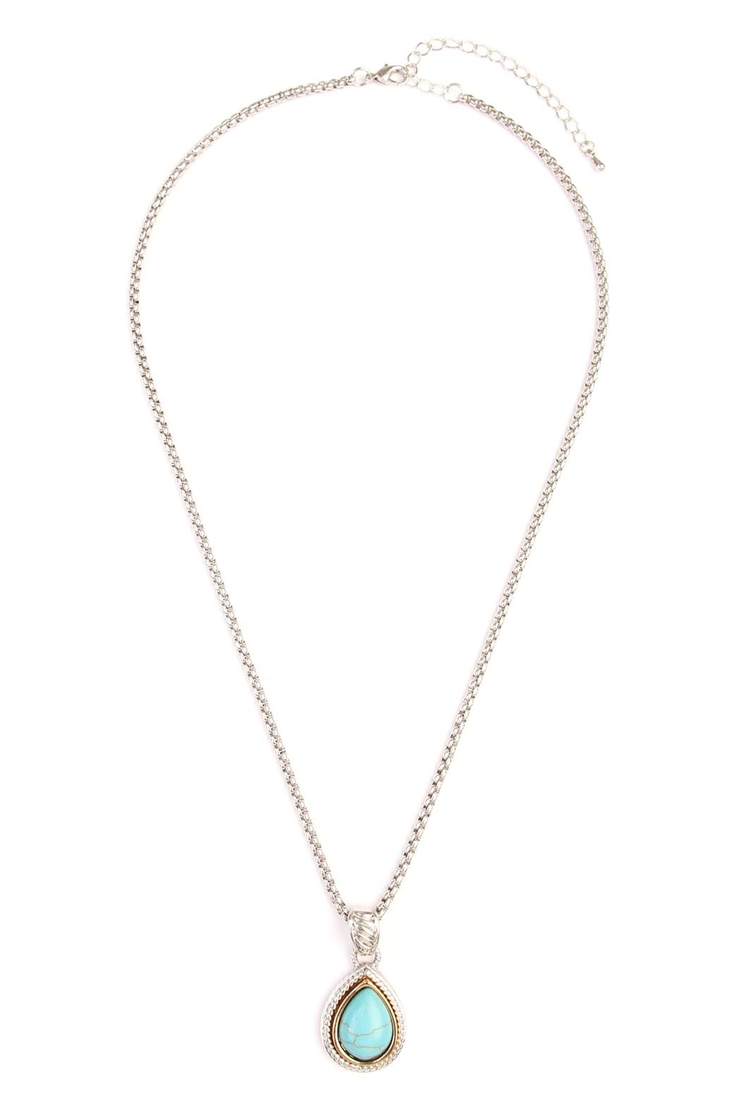 Riah Fashion Turquoise Stone Teardrop Necklace - Front Cropped Image