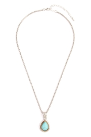 Riah Fashion Turquoise Stone Teardrop Necklace - Front cropped