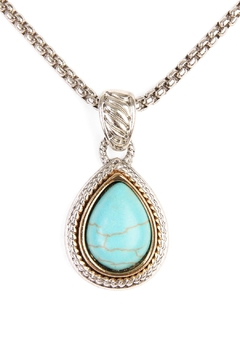 Shoptiques Product: Turquoise Stone Teardrop Necklace
