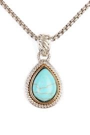 Riah Fashion Turquoise Stone Teardrop Necklace - Product Mini Image