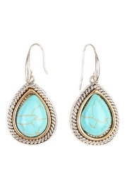 Riah Fashion Turquoise Teardrop Hook Earrings - Product Mini Image