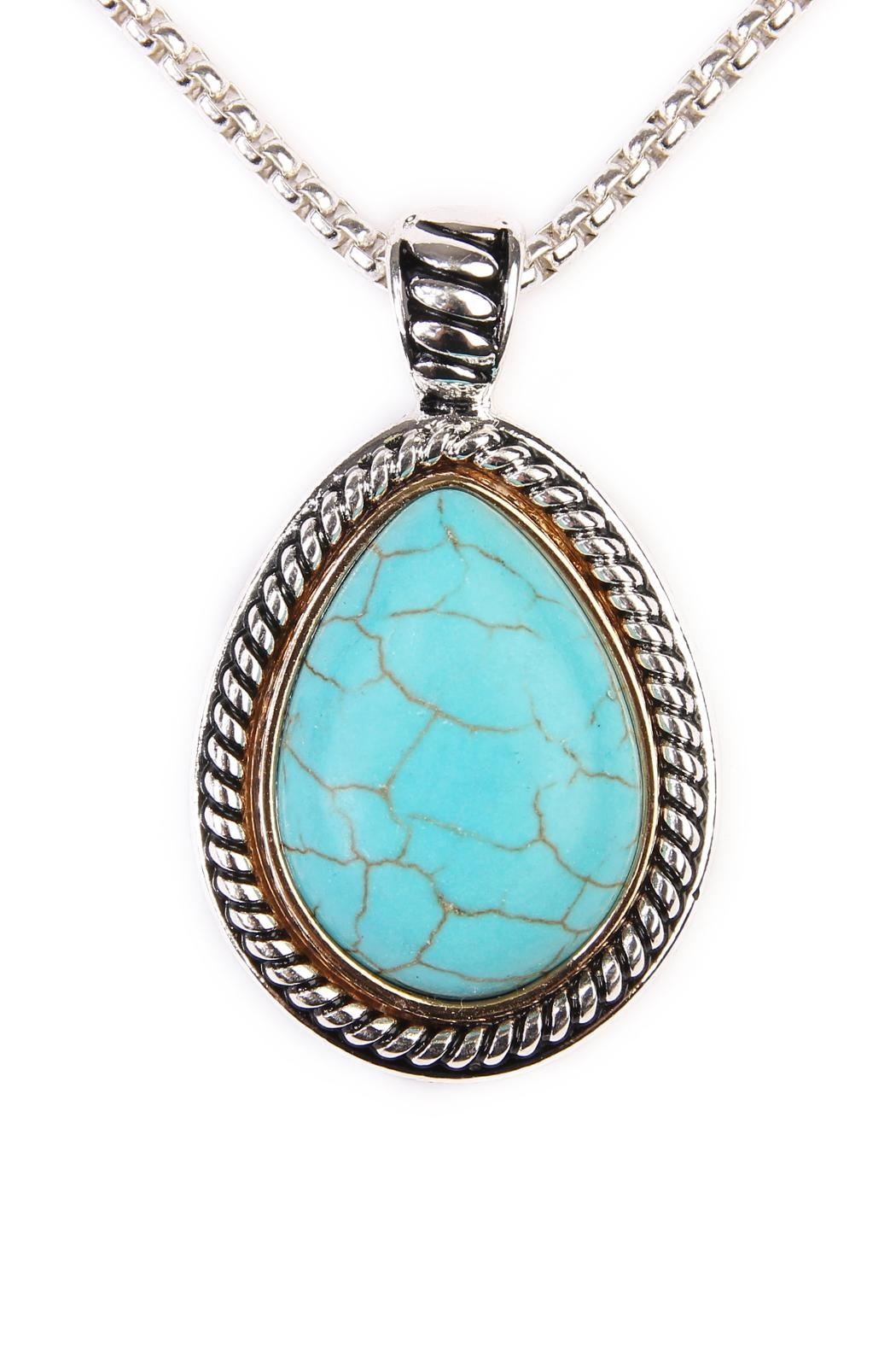 Riah Fashion Turquoise Teardrop Necklace - Front Full Image