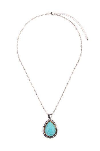 Riah Fashion Turquoise Teardrop Necklace - Main Image