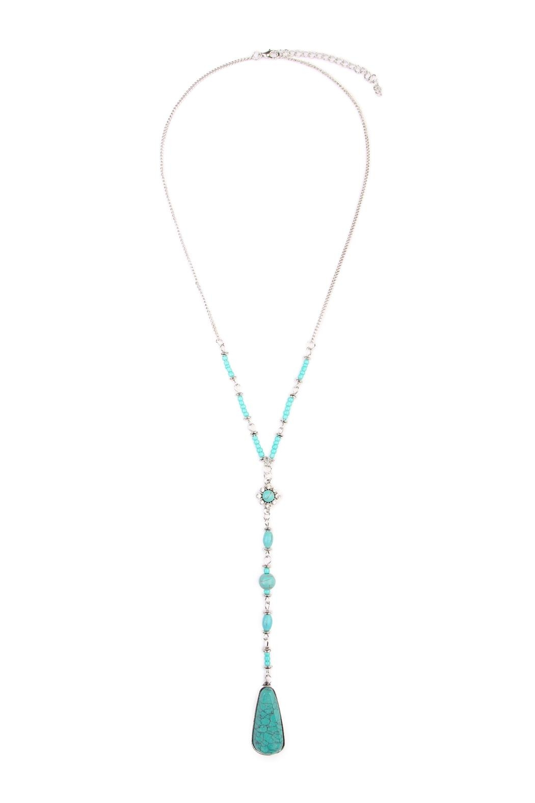 Riah Fashion Angelica Silver Lariat Necklace - Main Image