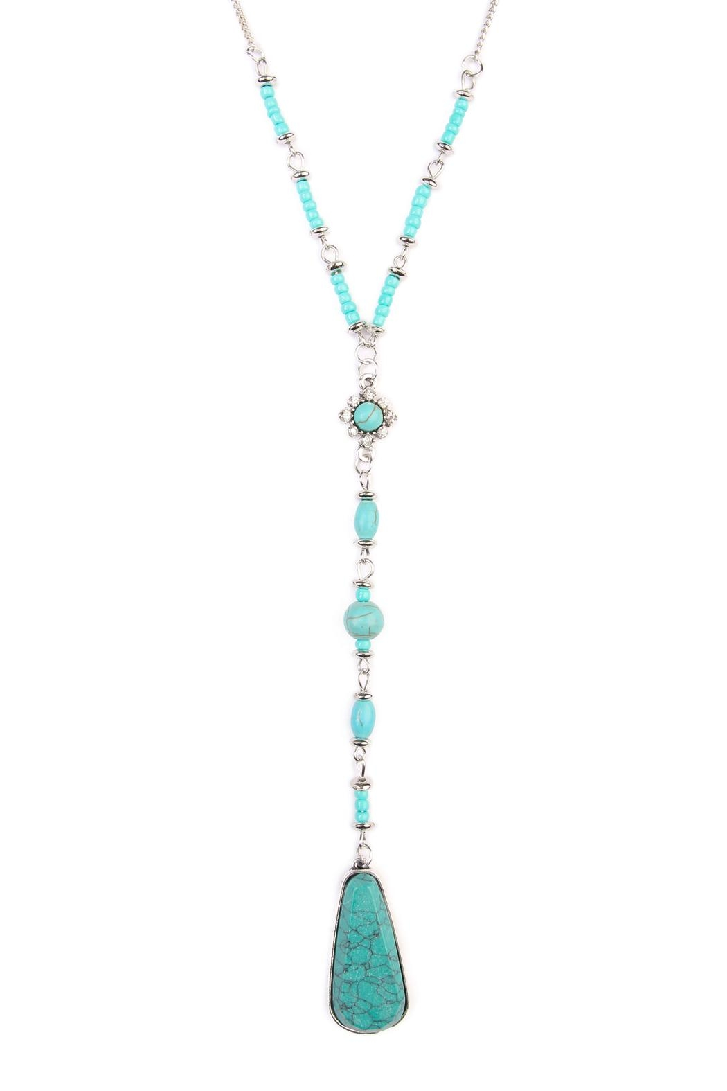 Riah Fashion Angelica Silver Lariat Necklace - Front Full Image
