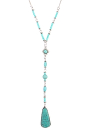 Riah Fashion Angelica Silver Lariat Necklace - Front full body