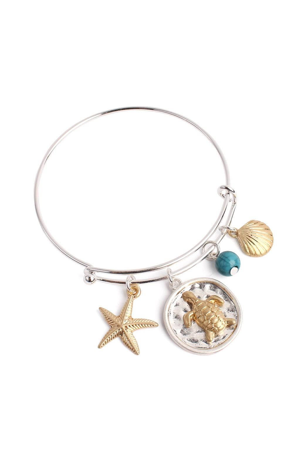 Riah Fashion Turtle Wired Bracelet - Front Cropped Image