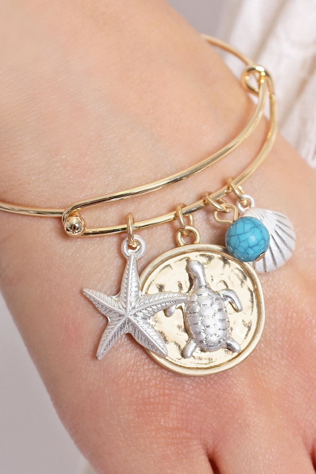 Riah Fashion Turtle Wired Bracelet - Front Full Image
