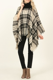 Riah Fashion Turtleneck Plaid-Tassel Hem-Poncho - Product Mini Image