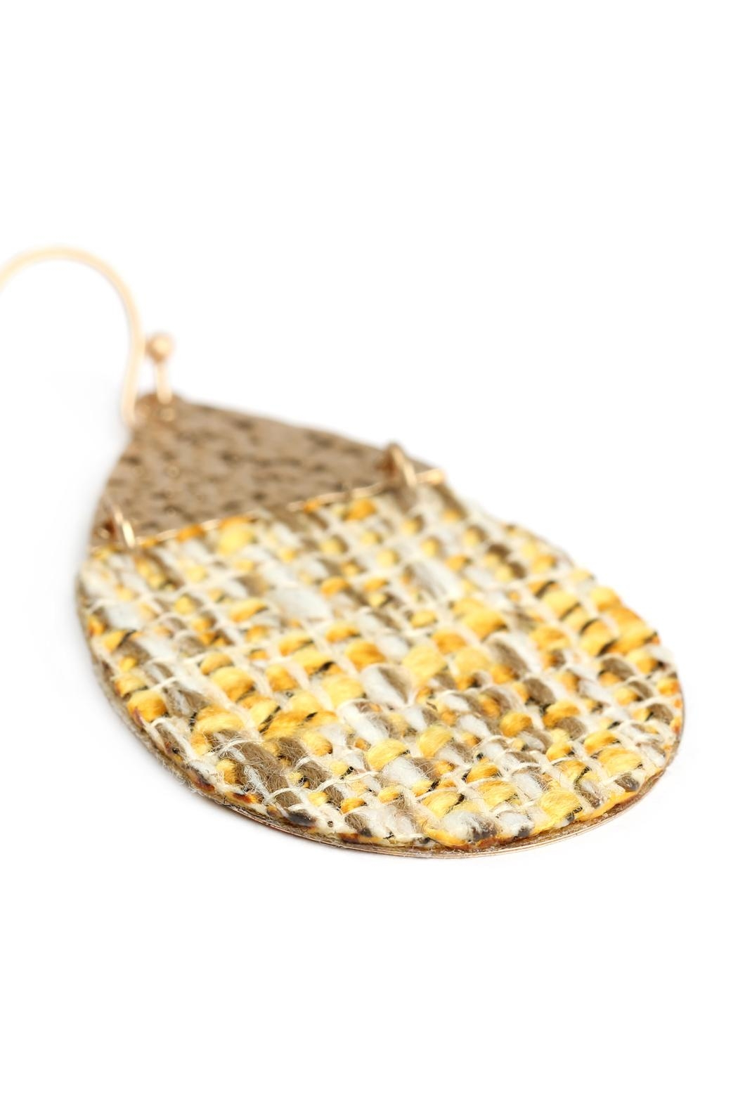 Riah Fashion Tweed Casting Earrings - Back Cropped Image