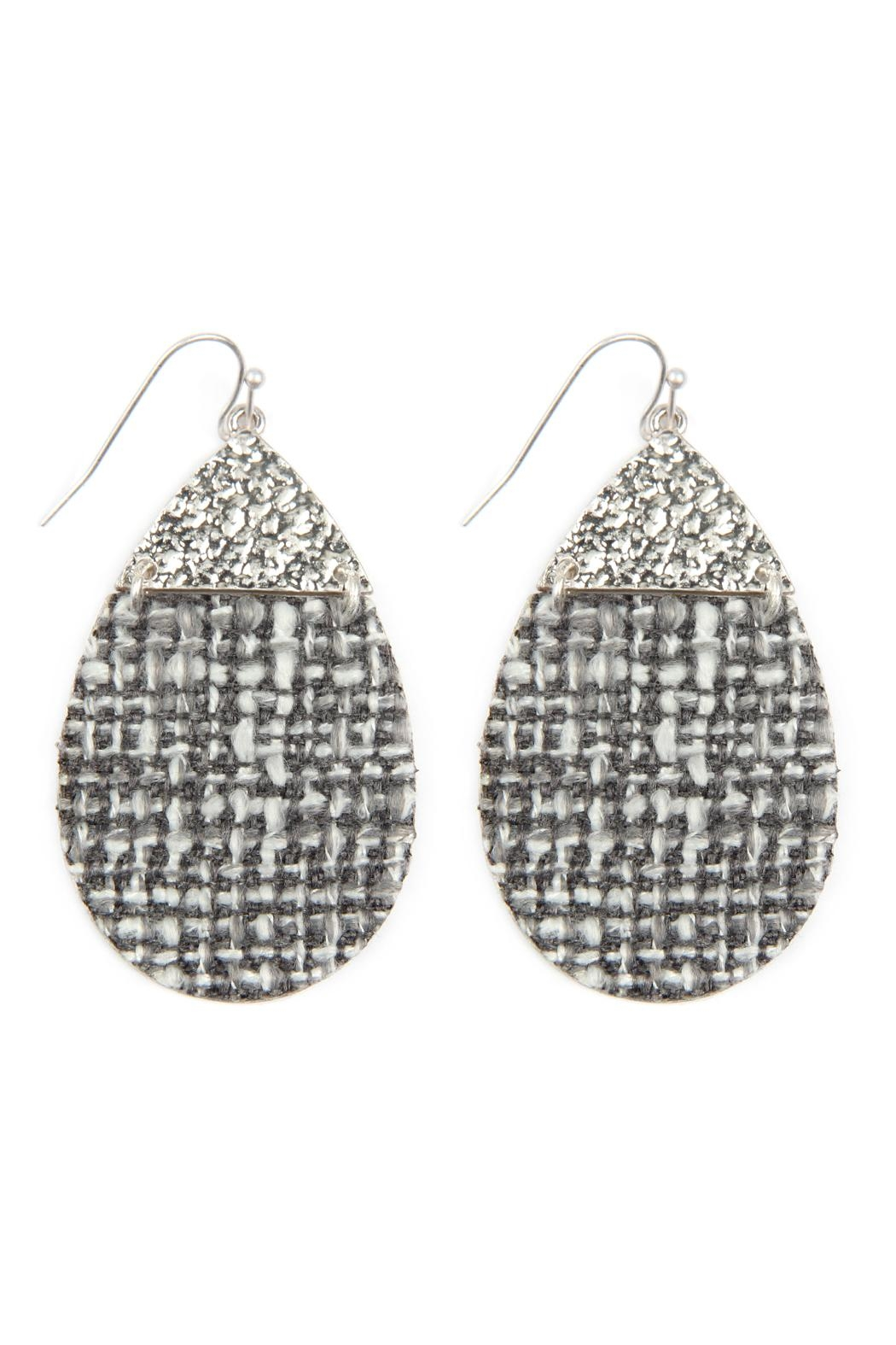 Riah Fashion Tweed Casting Earrings - Front Cropped Image
