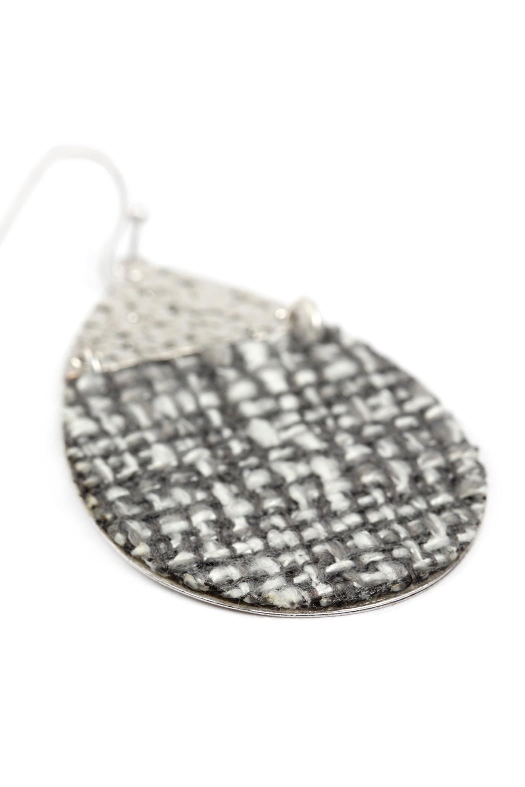 Riah Fashion Tweed Casting Earrings - Side Cropped Image