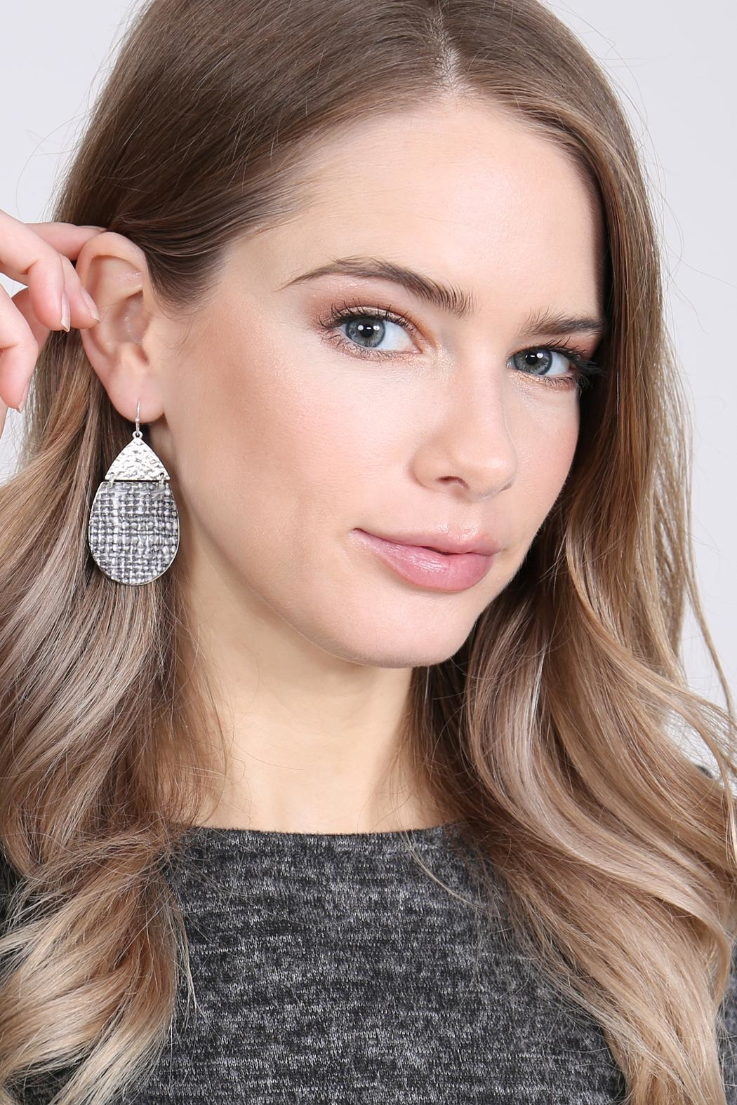 Riah Fashion Tweed Casting Earrings - Front Full Image