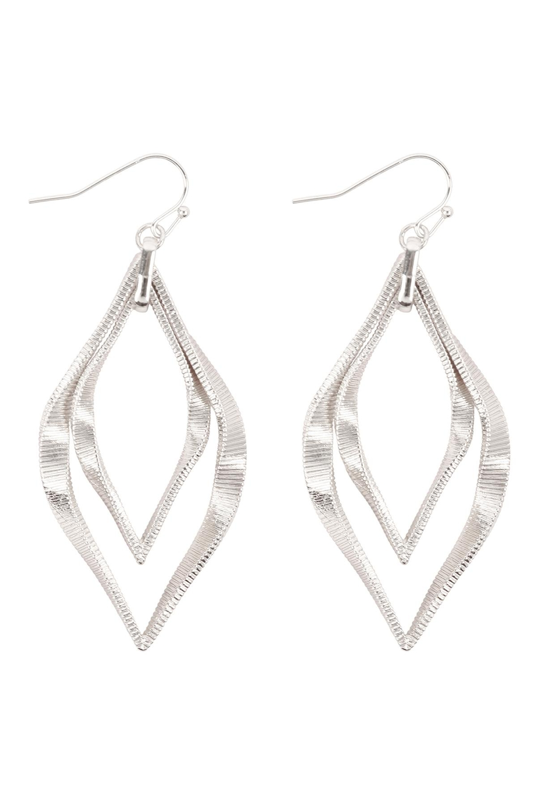 Riah Fashion Twist Textured-Layered-Marquise-Shape-Fish-Hook-Earrings - Front Cropped Image